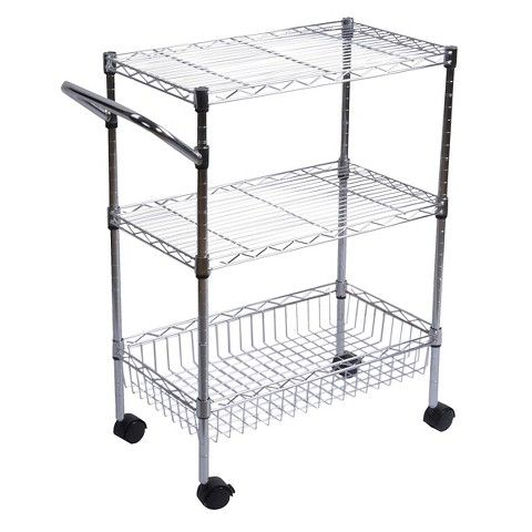 """Room Essentials™ 3-Tier Utility Cart with Wheels - Chrome 34.99 (32"""" high. Look into switching out for nicer casters-- also add a wood block top that could add some height (and kitchen appeal)...."""