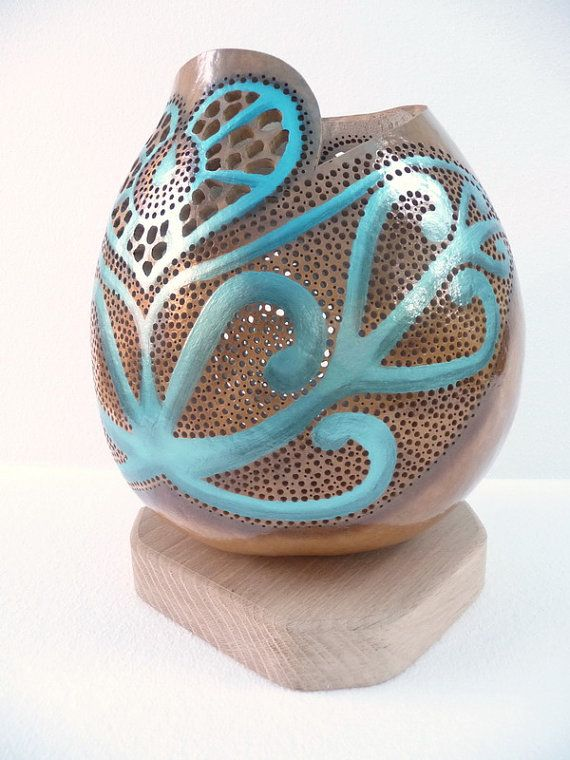 The face of love - turquoise, gourd lamp, unique lamp, table lamp
