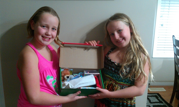 The girls also did shoe boxes this year. They used their money and went out and created 2 shoe boxed for Operation Christmas Child, Samaritans Purse, 2012