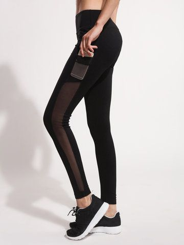 Women Mesh Stitching Sport Slim Legging