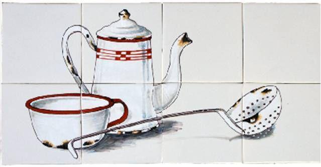 Tegels met koffiekan - € 455,00