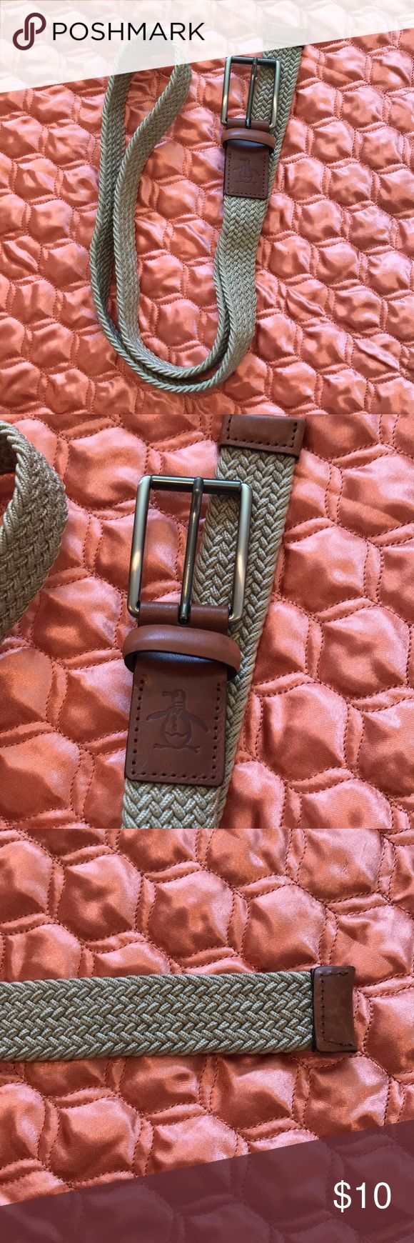 Penguin brand beige braided belt Beige cowhide braided belt Gently used  Penguin brand  Approximately 49 inches from tip to tip penguin Accessories Belts