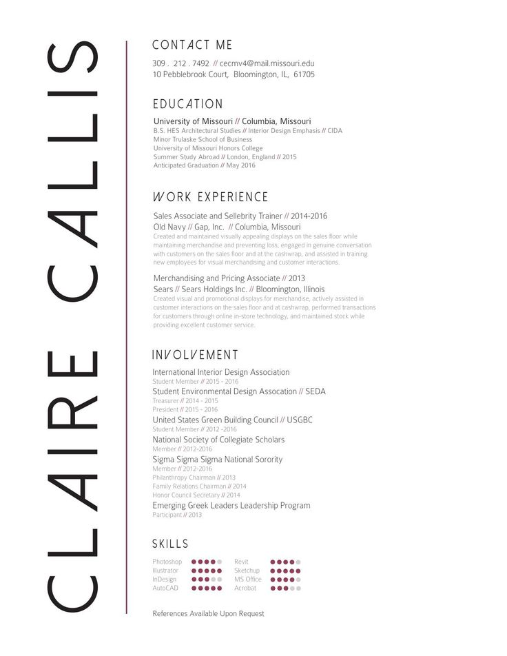Claire Callis Interior Design Resume