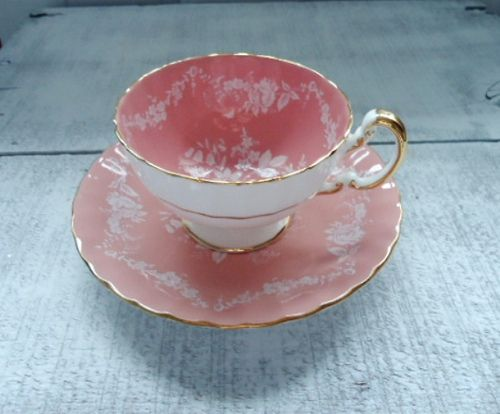 pretty pink teacup & saucer- name not known