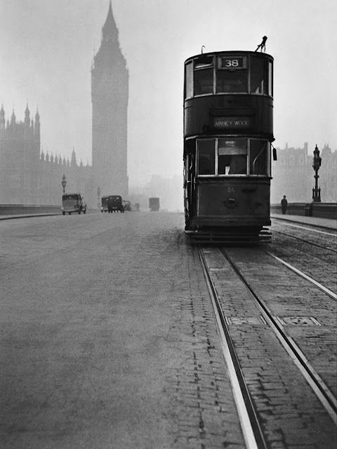 Tram on Westminster Bridge, London.1949.......What a Fantastic Photo with Big Ben in the distance.. More info about Trams in London.. http://en.wikipedia.org/wiki/Trams_in_London