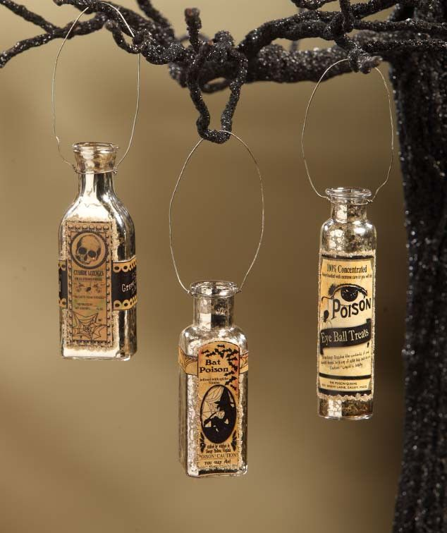 Mercury Glass Potion Bottle Ornaments Spooky Halloween - The Holiday Barn