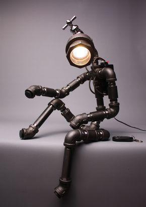 ROBOT PLONGEUR - Lampe Métal - Ampoule LED Variateur de lumière télécommandé - Antique Alive, artisanat coréen