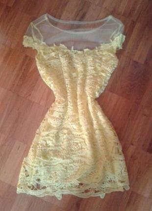Kaufe meinen Artikel bei #Kleiderkreisel http://www.kleiderkreisel.de/damenmode/kurze-kleider/139734552-gelbes-kleid-mit-spitze-und-netz-mini-34-xs