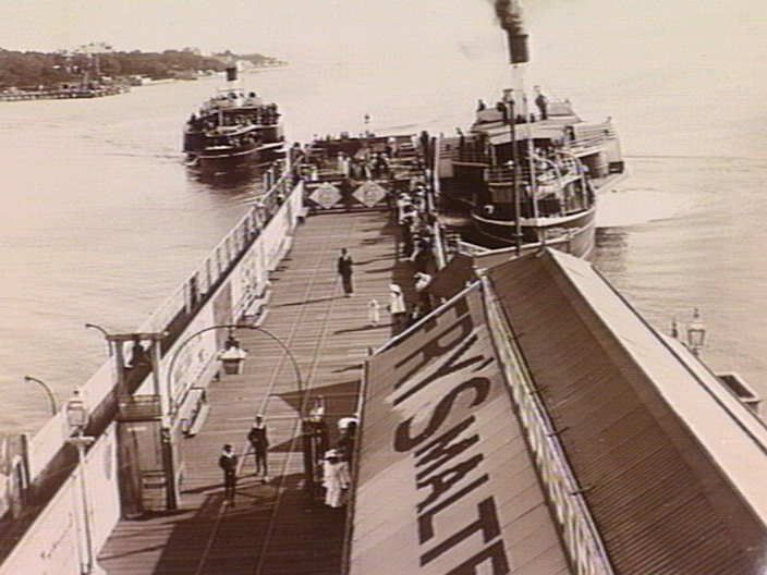 Ferries at Manly Pier, State Library of Victoria