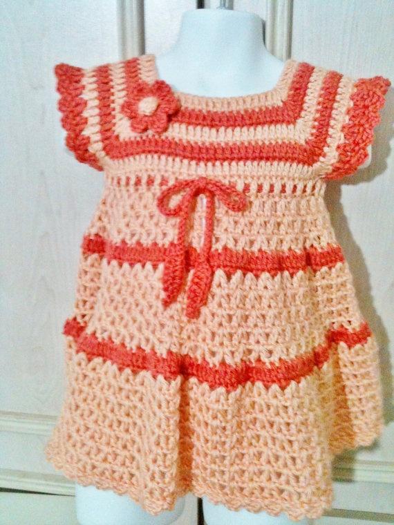 Crochet baby dress with matching headband por FAYSFABULOUSCROCHET, $32,00