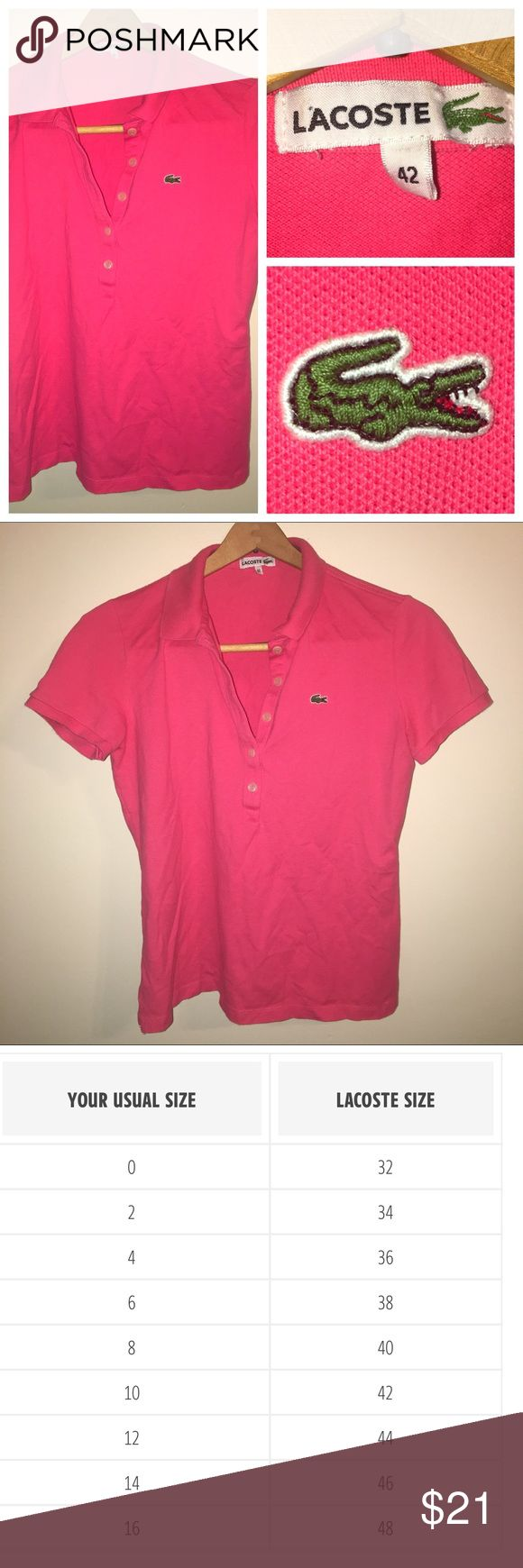 Lacoste 5-button Polo Cute Preppy Pink Polo. Goes Well With Shorts, Skirts, Or Pants. Fits size M/L. In Great Condition. Lacoste Tops