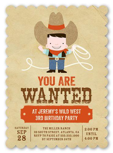 Cowboy Fun 5x7 Invitation Card | Birthday Invitations