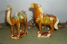 Vintage Chinese Tang Dynasty Style Majolica Drip Glaze War Horse & Camel
