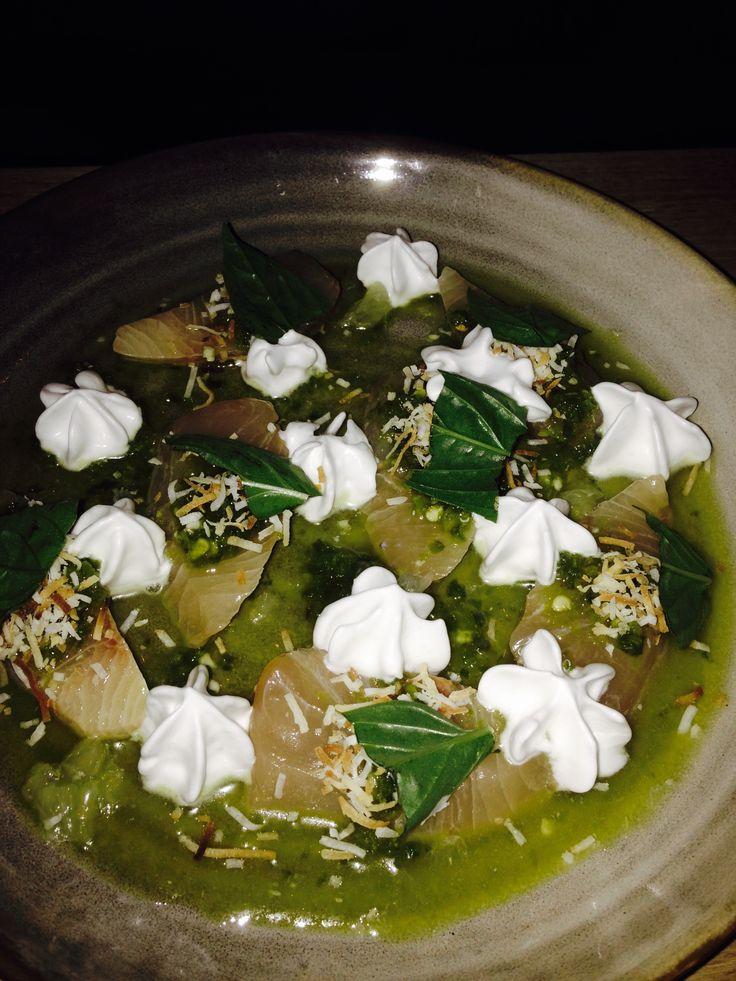 Kingfish sashimi, coconut foam, chilli & mint at Lucy Liu