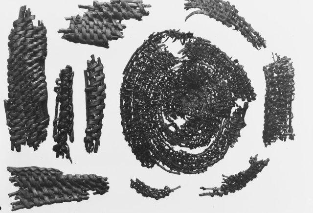 Fragments of pine-needle basket from Oseberg ship