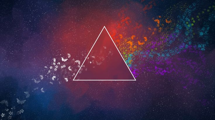 1366x768 Wallpaper triangle, abstract, spots, butterfly, patterns