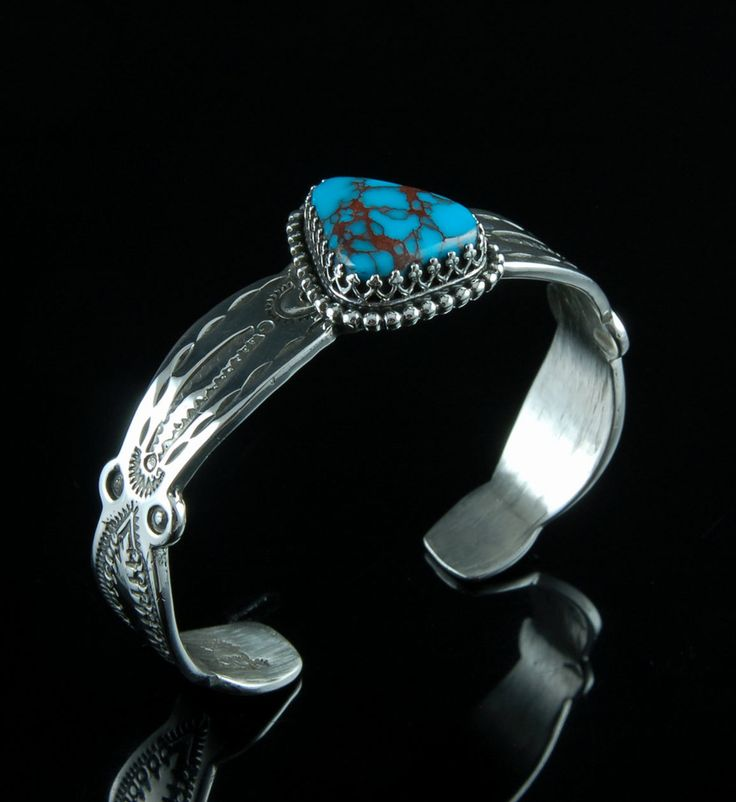 Hand Stamped Silver Cuff Bracelet with Spiderweb Turquoise