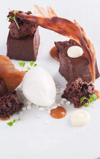 Chocolate aero with dark chocolate mousse and salted caramel by Matt Worswick.