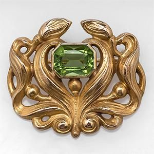 Art Nouveau Antique Natural Peridot Gemstone Brooch Pin Solid 14k Yellow Gold