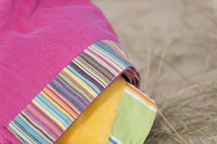 Extra large beach towels in Mahjong and Cricket Yellow stripes