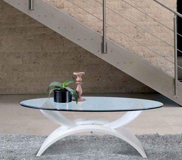 Couchtisch Design Oval Glasplatte Weiss Tischbein Shaggy Teppich