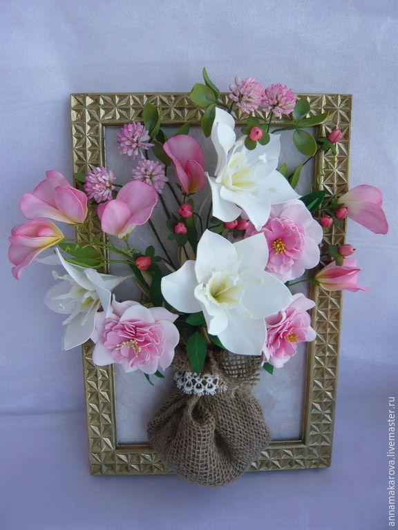 Купить Панно из цветов. Фоамиран - разноцветный, фоамиран, интерьерная композиция, панно, цветы ручной работы