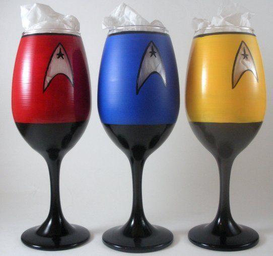 Hand Painted Star Trek Wine Glasses  on Geek Alert im not a trekkie bit my bestie is and I WANT THESE!!!!