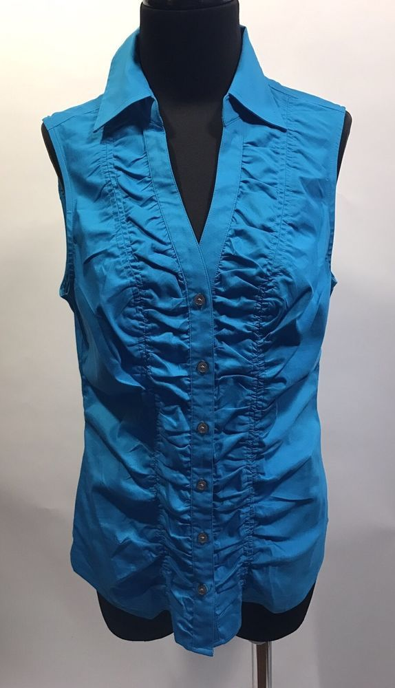 Express Design Studio NWOT Bright Blue Ruched Sleeveless Cotton Stretch Blouse M #Express #Blouse #CareerDress