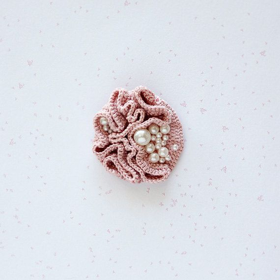 Crochet brooch with pearl beads