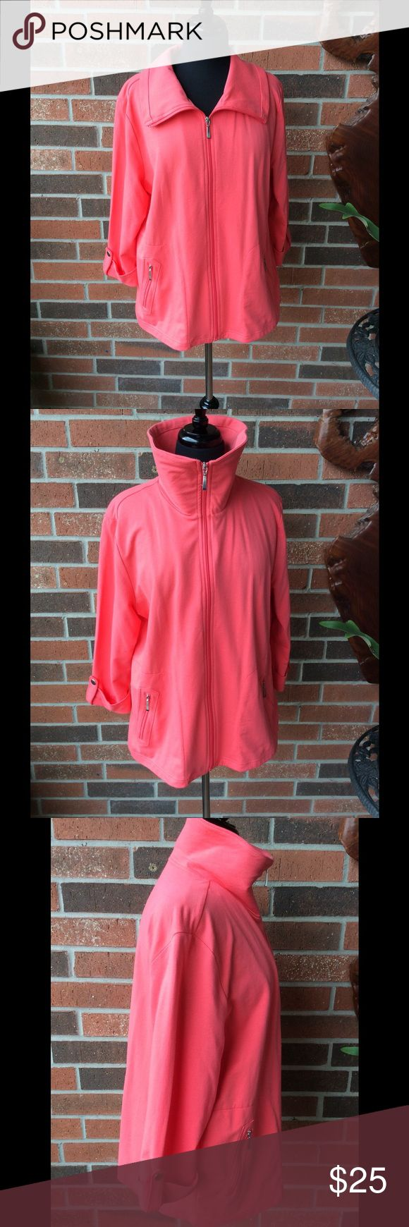 "Karen Scott Sport Jacket NWOT Color is bright coral. 26"" long. 3/4"" sleeves. Silver hardware. 97% cotton 3% spandex. Side zip pockets. Bought two colors and keeping one and selling one Karen Scott Jackets & Coats"