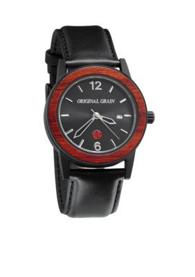 Original Grain Men's Men's Sixty40 Rosewood Black Leather Watch - Black - One Size