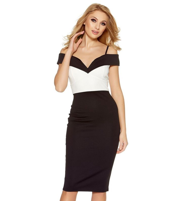 Black And Cream Bardot Midi Dress