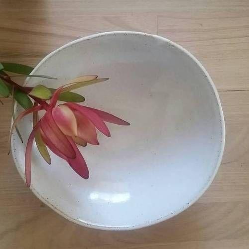 White stoneware with protea