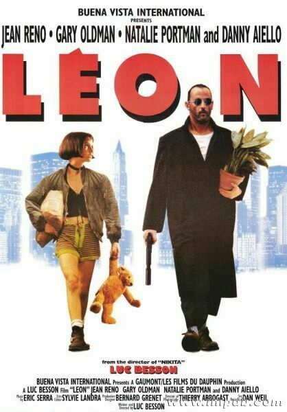 Leon: The Professional (1994), starring Jean Reno, Gary Oldham, Natalie Portman, Danny Aiello, Michael Badalucco; written and directed by Luc Besson.