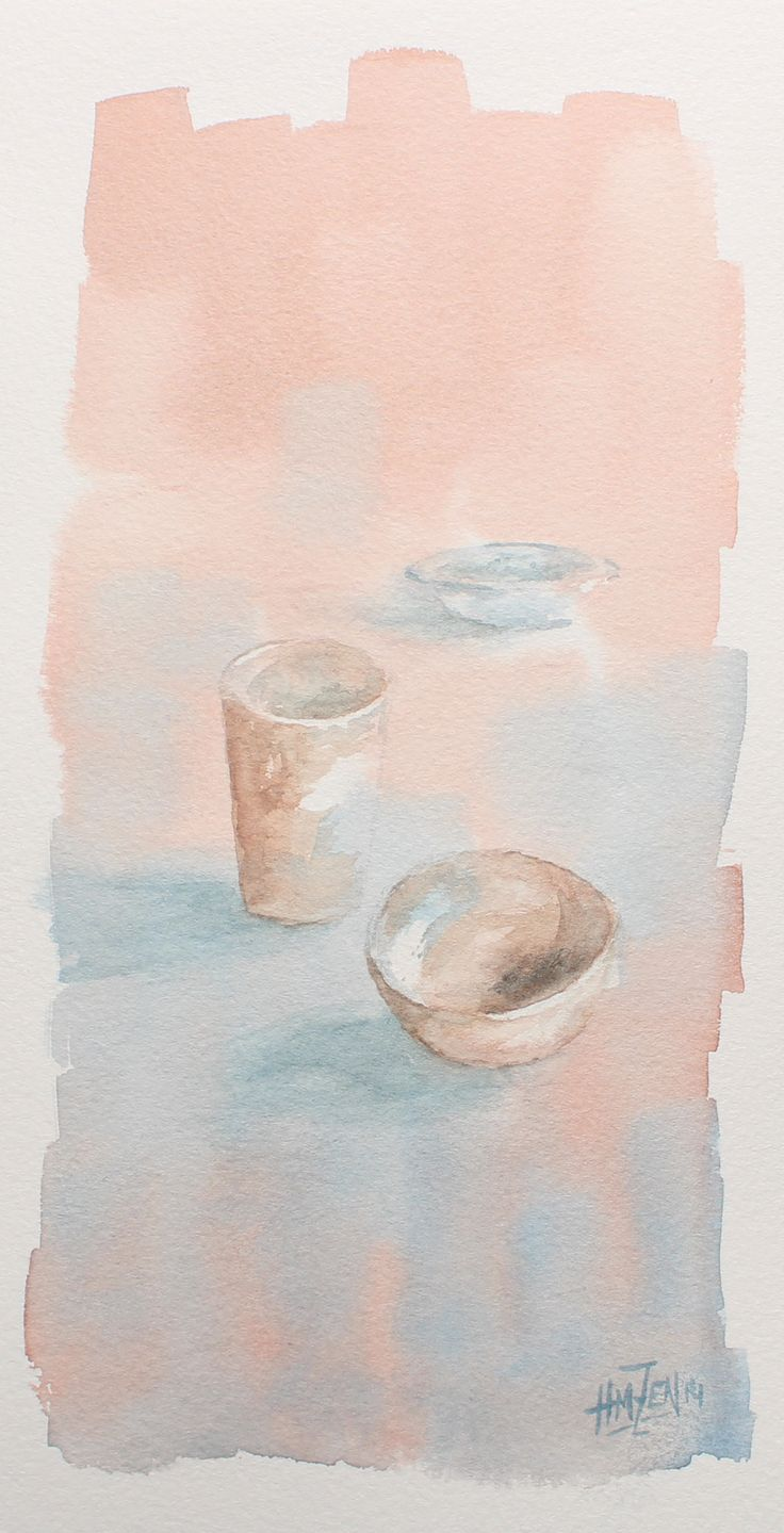Postales de acuarela - Sencillo bodegón. Watercolor Postcards - Simple still life. HMZEN'14-
