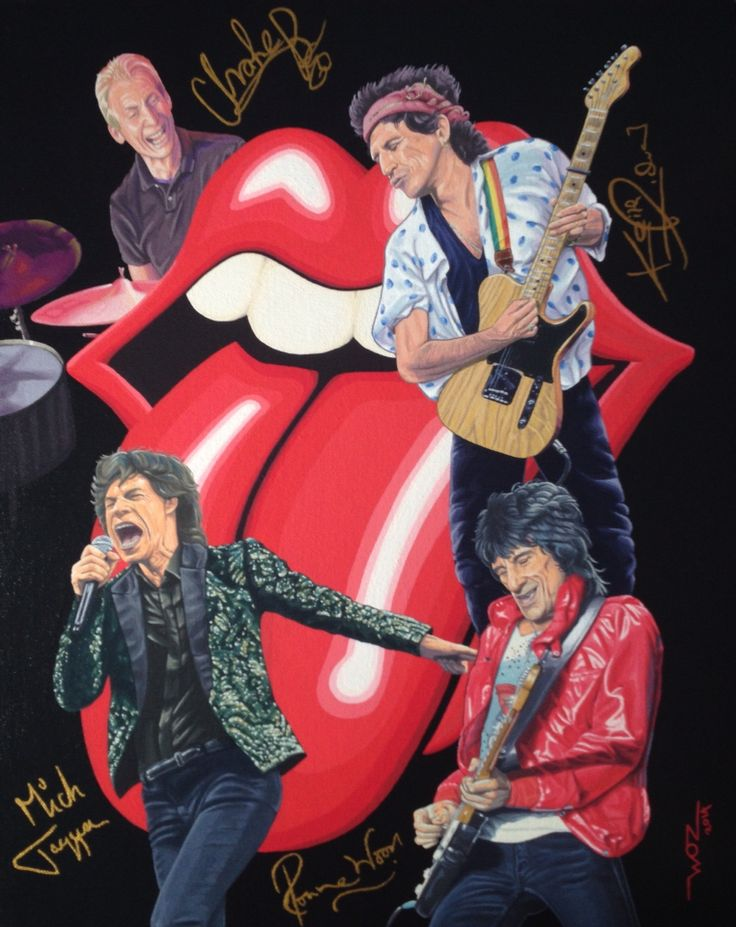 Artist WOZ fine art painting 'Rolling Stones 1' acrylic on canvas 16x20 inch.