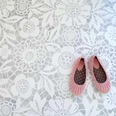 Skylar's Lace Floral Stencil will make you feel like you are still walking on clouds. This floral stencil will go great on my front porch. Welcome home honey. Love it!