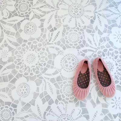Flower Stencils-For kitchen floor!: Ideas, Lace Stencil, Laundry Rooms, Floors Design, Stencil Floors, Concrete Floors, Paintings Floors, Diy Projects, Painted Floors