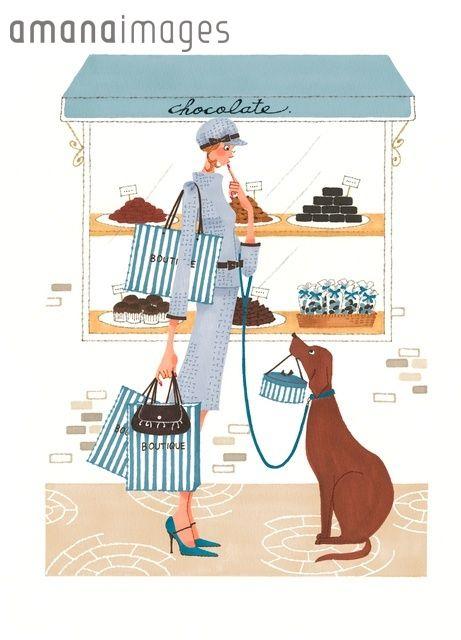 チョコレート店の前にいる女性 (c)Asterisk