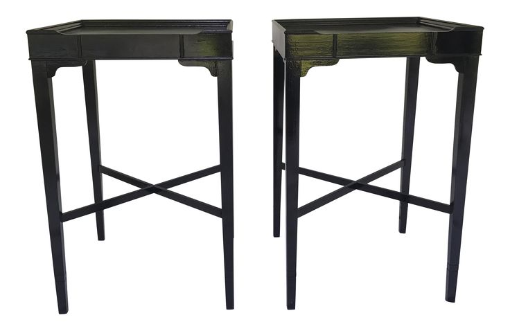 Vintage Black Side Tables - A Pair on Chairish.com