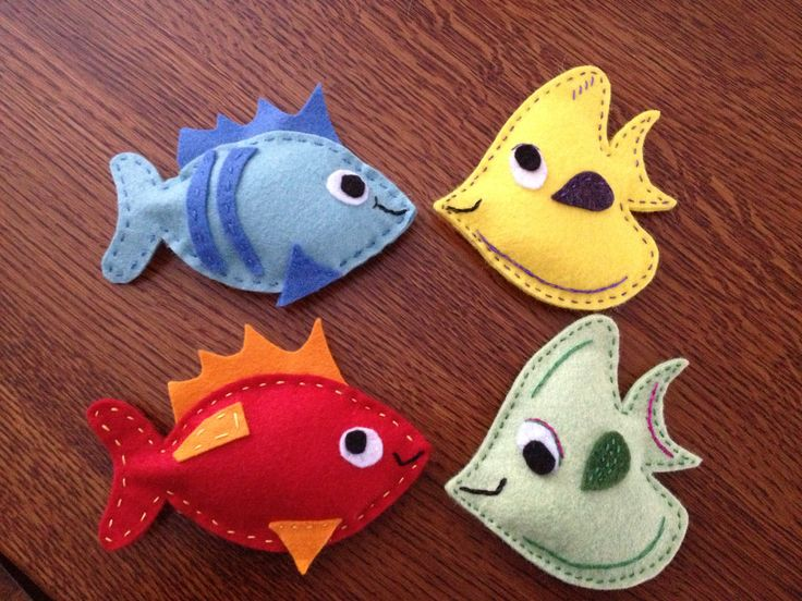 Felt fish with washers in them for a fishing game for my toddler. I made a pole with a dowel, nylon string and a strong magnet on the end.