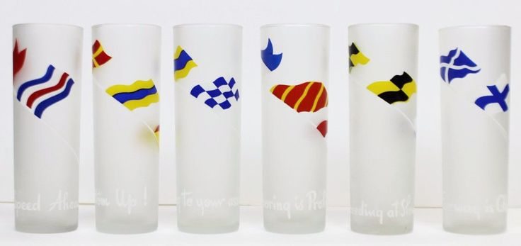 Set of (6) Frosted Signal Flags' Collins Glasses