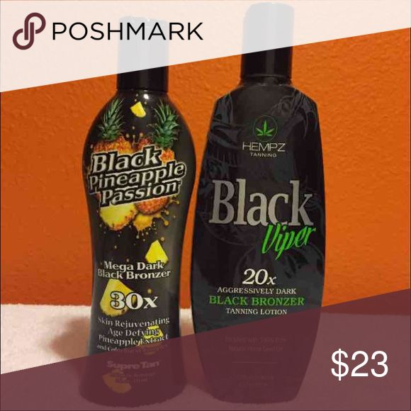 *NEW*2 Indoor Tanning Bed Lotions ☆☆New☆☆ Authentic Supre Tan Lotion Tanning Salon Lotion  2 Brand New Bottles Black Pineapple Passion 30x 8oz Hempz Black Viper 20x 8.5oz Supre Tan Other