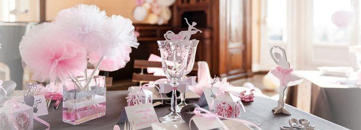 bapt me de petite fille sur le th me de la danse des pompoms des vases des rubans en rose. Black Bedroom Furniture Sets. Home Design Ideas