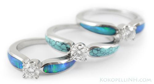 Unique Diamond Opal Engagement Rings... These are soooo beautiful!