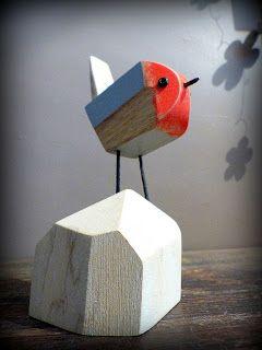 Robin Wood; petit rouge gorge en bois flotté et métal