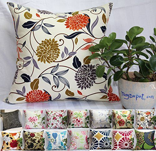 TangDepot174 100 Cotton FloralFlower Printcloth Decorative Throw Pillow Covers Handmade Pillow Shams  Many Colors Sizes Avaliable  18x18 S07 Chrysanthemum ** Find out more about the great product at the image link.