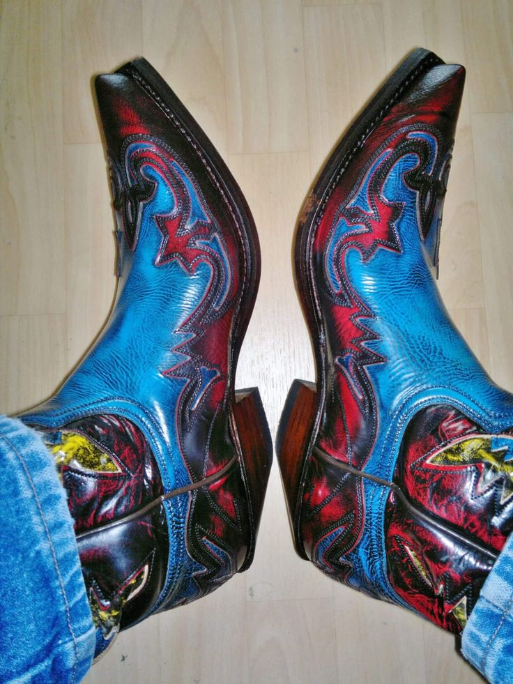 Spectacularly coloured boots