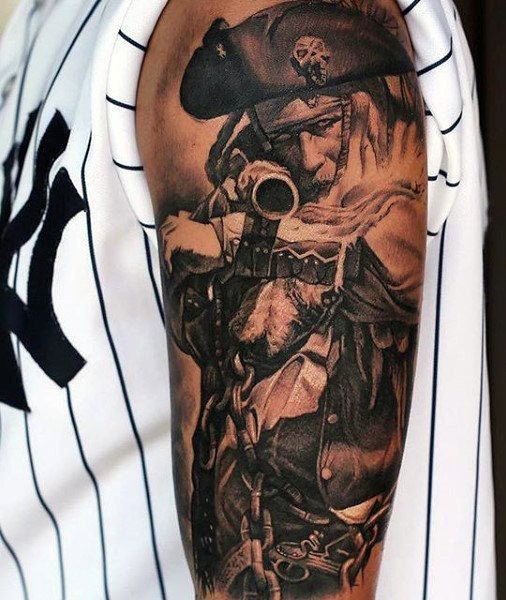 40 best pirate tattoos for men gallery images on pinterest for Skeleton pirate tattoo