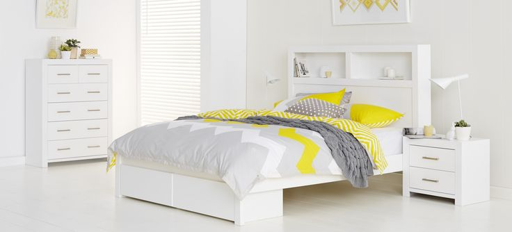 Carla Bedroom Furniture - High gloss white finish bed, includes two drawers. Solid timber slats, available in King, Queen and Double sizes. MDF timber finished with high gloss pain. 1 Year Warranty.